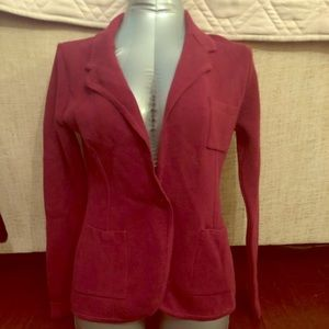 Audrey & Grace cranberry cotton knit blazer